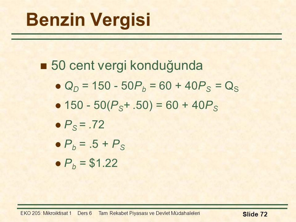 EKO 205: Mikroiktisat 1 Ders 6 Tam Rekabet Piyasası ve Devlet Müdahaleleri Slide 72 Benzin Vergisi 50 cent vergi konduğunda Q D = 150 - 50P b = 60 + 4
