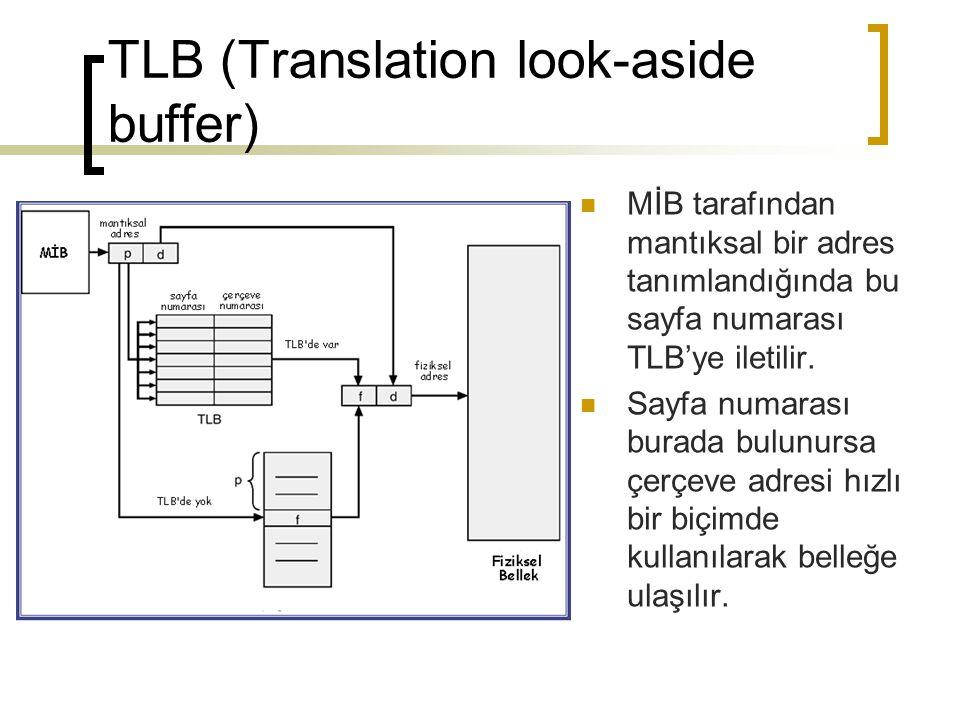 TLB (Translation look-aside buffer) MİB tarafından mantıksal bir adres tanımlandığında bu sayfa numarası TLB'ye iletilir. Sayfa numarası burada bulunu