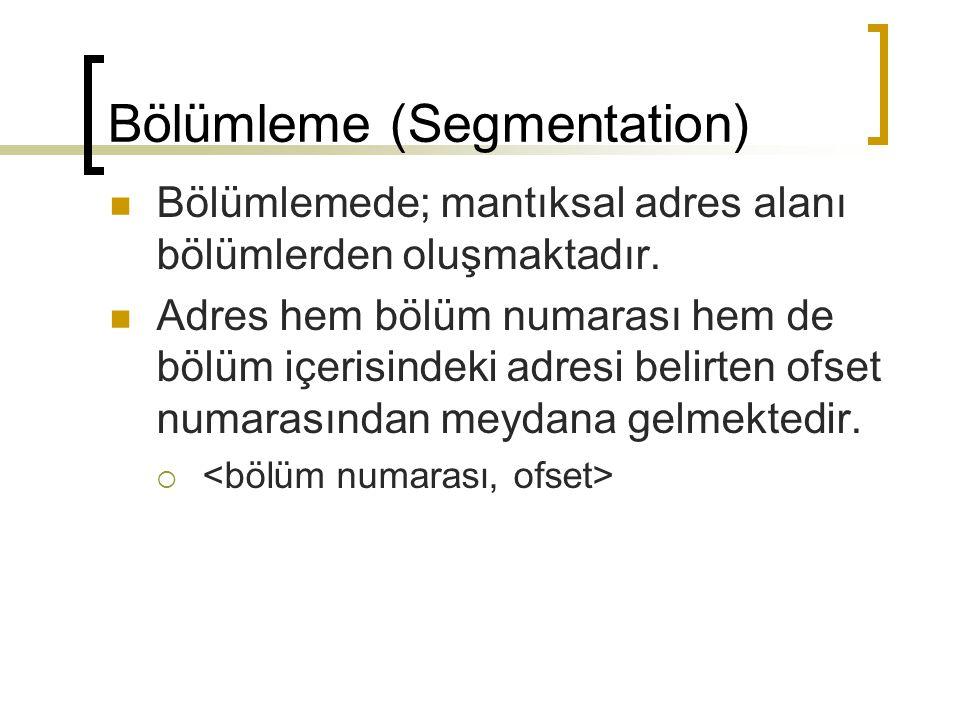 Bölümleme (Segmentation) Bölümlemede; mantıksal adres alanı bölümlerden oluşmaktadır. Adres hem bölüm numarası hem de bölüm içerisindeki adresi belirt