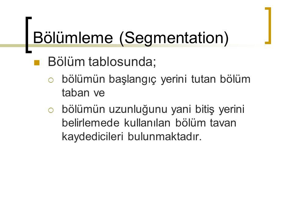 Bölümleme (Segmentation) Bölüm tablosunda;  bölümün başlangıç yerini tutan bölüm taban ve  bölümün uzunluğunu yani bitiş yerini belirlemede kullanıl