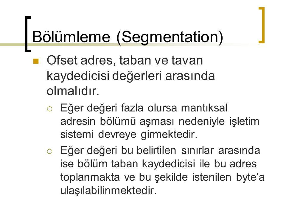 Bölümleme (Segmentation) Ofset adres, taban ve tavan kaydedicisi değerleri arasında olmalıdır.  Eğer değeri fazla olursa mantıksal adresin bölümü aşm