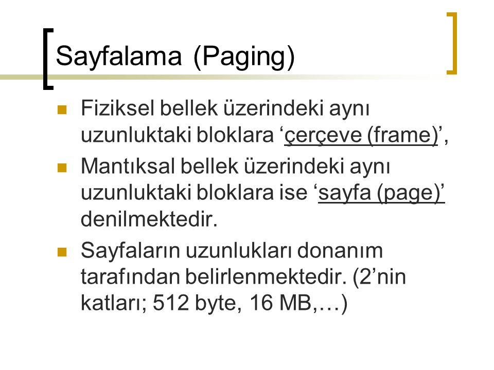 Sayfalama (Paging) MİB'nin oluşturduğu adres iki bölümden oluşmaktadır;  sayfa numarası (p): fiziksel bellekteki her bir sayfanın taban adresini tutan sayfa tablosundaki gösterge.