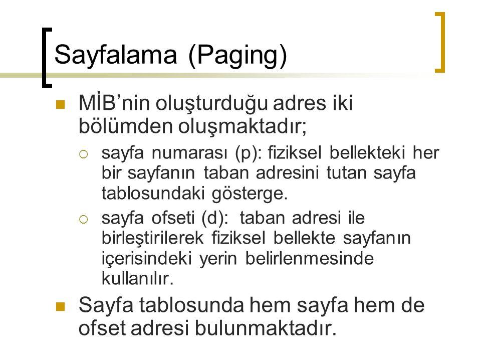 Sayfalama (Paging) MİB'nin oluşturduğu adres iki bölümden oluşmaktadır;  sayfa numarası (p): fiziksel bellekteki her bir sayfanın taban adresini tuta