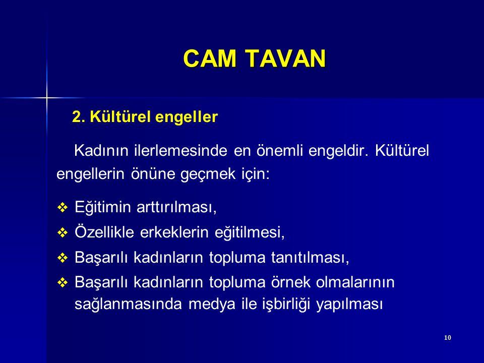10 CAM TAVAN 2. Kültürel engeller Kadının ilerlemesinde en önemli engeldir. Kültürel engellerin önüne geçmek için:   Eğitimin arttırılması,   Özel