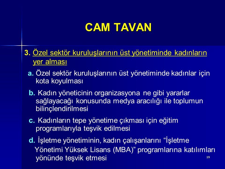 19 CAM TAVAN 3. Özel sektör kuruluşlarının üst yönetiminde kadınların yer alması a.Özel sektör kuruluşlarının üst yönetiminde kadınlar için kota koyul