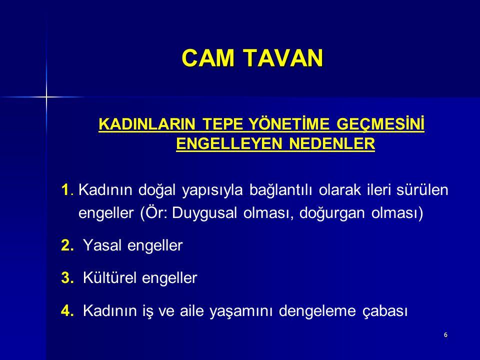 17 CAM TAVAN 2.Ülke yönetiminin üst karar organlarında kadınların yer alması a.