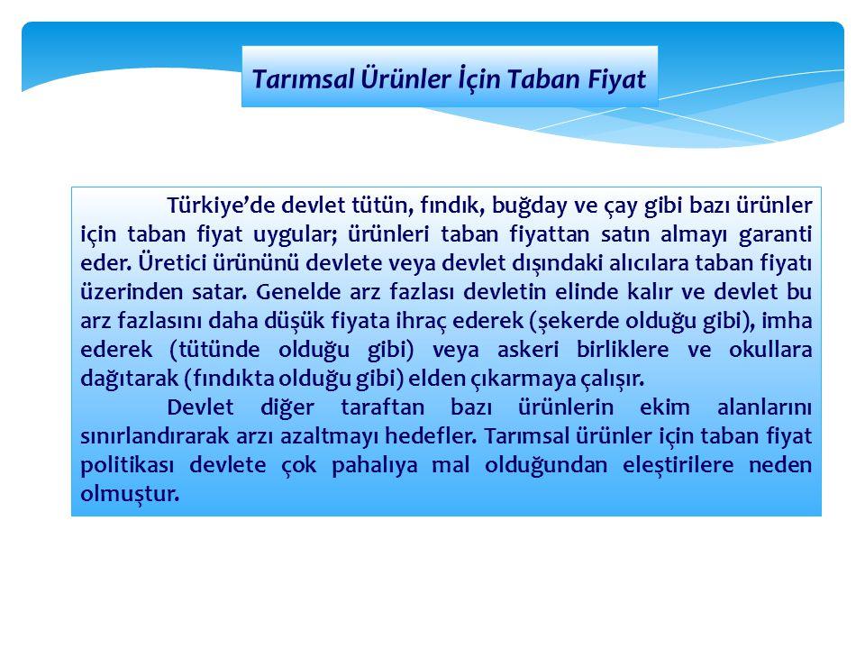 Tarımsal Ürünler İçin Taban Fiyat Türkiye'de devlet tütün, fındık, buğday ve çay gibi bazı ürünler için taban fiyat uygular; ürünleri taban fiyattan s