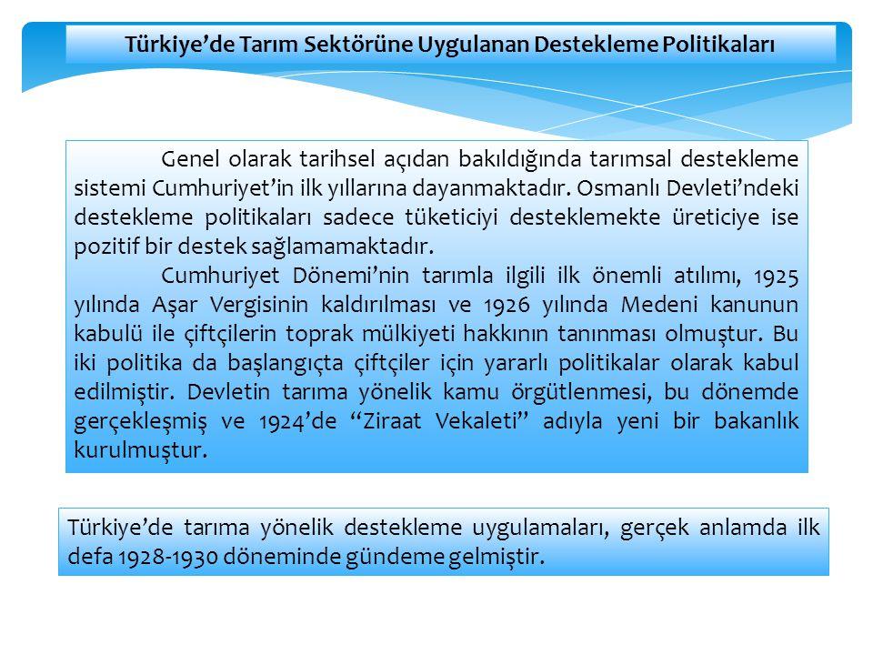 Genel olarak tarihsel açıdan bakıldığında tarımsal destekleme sistemi Cumhuriyet'in ilk yıllarına dayanmaktadır. Osmanlı Devleti'ndeki destekleme poli