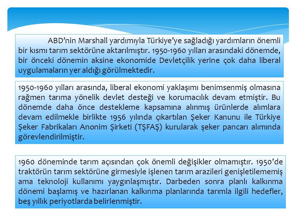 ABD'nin Marshall yardımıyla Türkiye'ye sağladığı yardımların önemli bir kısmı tarım sektörüne aktarılmıştır. 1950-1960 yılları arasındaki dönemde, bir