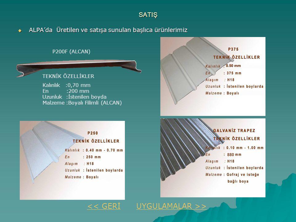 SATIŞ  ALPA'da Üretilen ve satışa sunulan başlıca ürünlerimiz << GERİUYGULAMALAR >> P200F (ALCAN) TEKNİK ÖZELLİKLER Kalınlık :0,70 mm En :200 mm Uzun