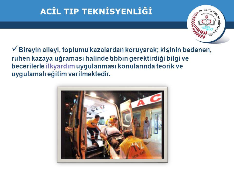 www.thmemgallery.com Company Logo ACİL TIP TEKNİSYENLİĞİ Bireyin aileyi, toplumu kazalardan koruyarak; kişinin bedenen, ruhen kazaya uğraması halinde tıbbın gerektirdiği bilgi ve becerilerle ilkyardım uygulanması konularında teorik ve uygulamalı eğitim verilmektedir.
