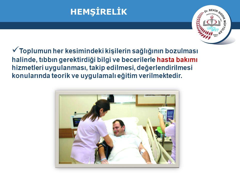 www.thmemgallery.com Company Logo HEMŞİRELİK Toplumun her kesimindeki kişilerin sağlığının bozulması halinde, tıbbın gerektirdiği bilgi ve becerilerle hasta bakımı hizmetleri uygulanması, takip edilmesi, değerlendirilmesi konularında teorik ve uygulamalı eğitim verilmektedir.