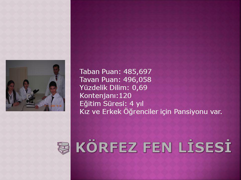 Taban Puan: 485,697 Tavan Puan: 496,058 Yüzdelik Dilim: 0,69 Kontenjanı:120 Eğitim Süresi: 4 yıl Kız ve Erkek Öğrenciler için Pansiyonu var.