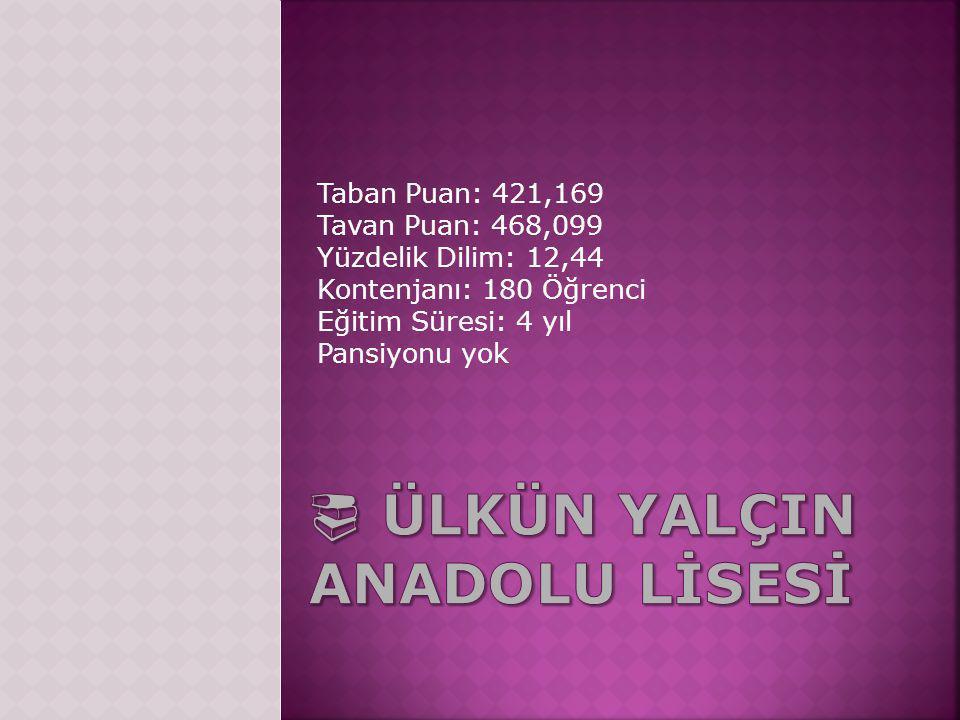 Taban Puan: 421,169 Tavan Puan: 468,099 Yüzdelik Dilim: 12,44 Kontenjanı: 180 Öğrenci Eğitim Süresi: 4 yıl Pansiyonu yok