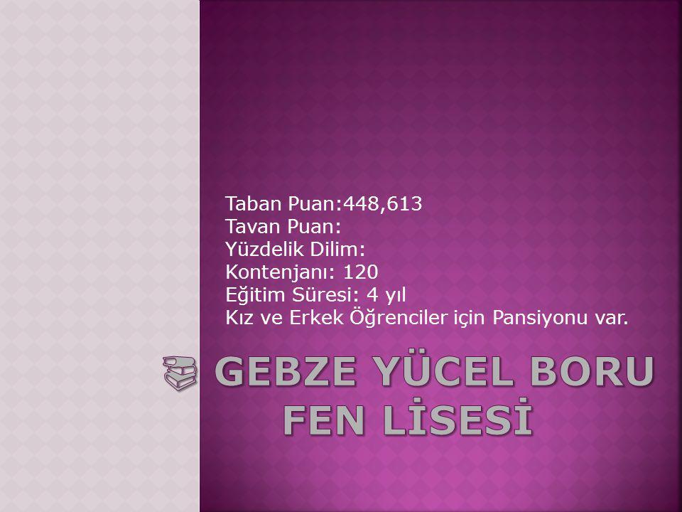 Taban Puan:448,613 Tavan Puan: Yüzdelik Dilim: Kontenjanı: 120 Eğitim Süresi: 4 yıl Kız ve Erkek Öğrenciler için Pansiyonu var.