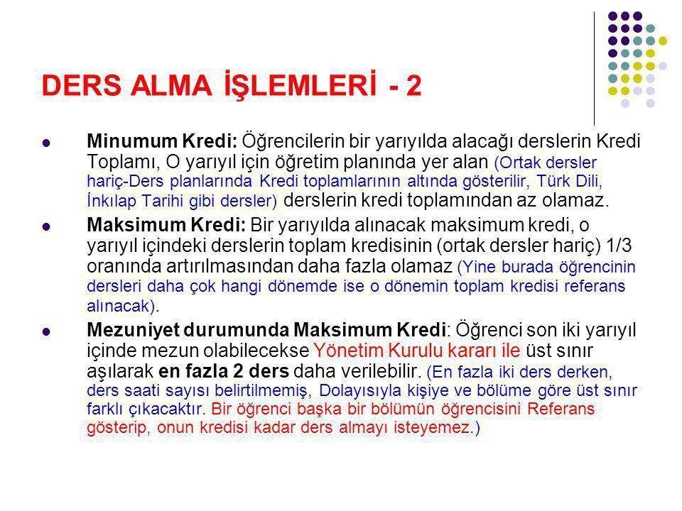 DERS ALMA İŞLEMLERİ -3 Ders ekle/sil: Öğrenciler ekle/sil haftasında (öğretimin 3.