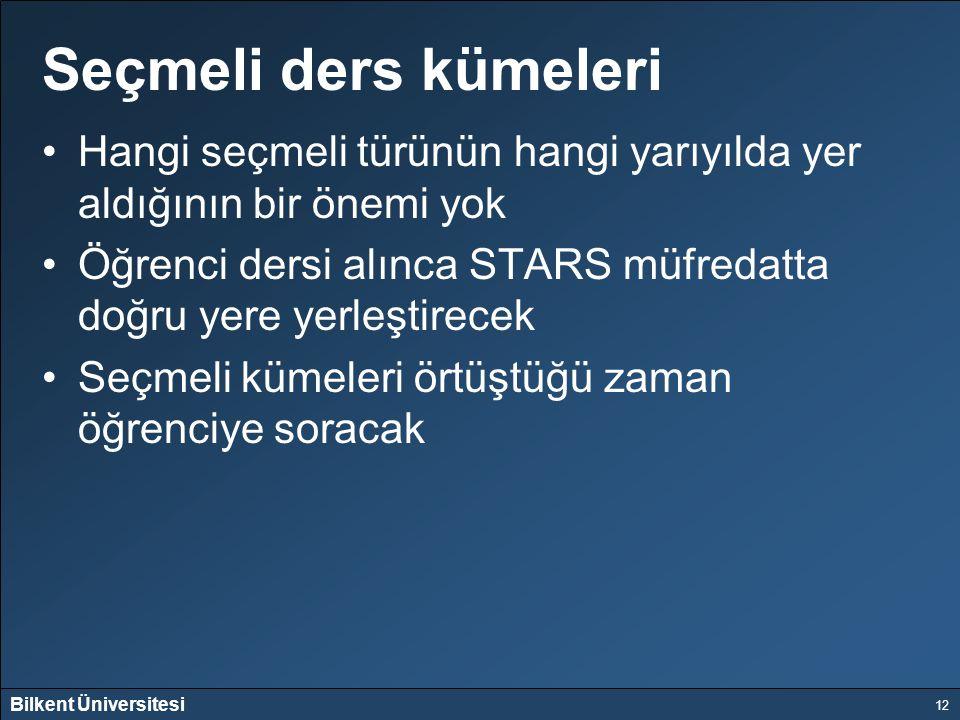 Bilkent Üniversitesi 12 Seçmeli ders kümeleri Hangi seçmeli türünün hangi yarıyılda yer aldığının bir önemi yok Öğrenci dersi alınca STARS müfredatta