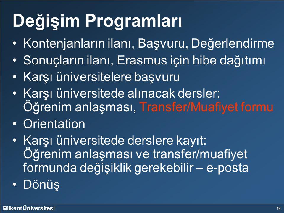 Bilkent Üniversitesi 14 Değişim Programları Kontenjanların ilanı, Başvuru, Değerlendirme Sonuçların ilanı, Erasmus için hibe dağıtımı Karşı üniversite