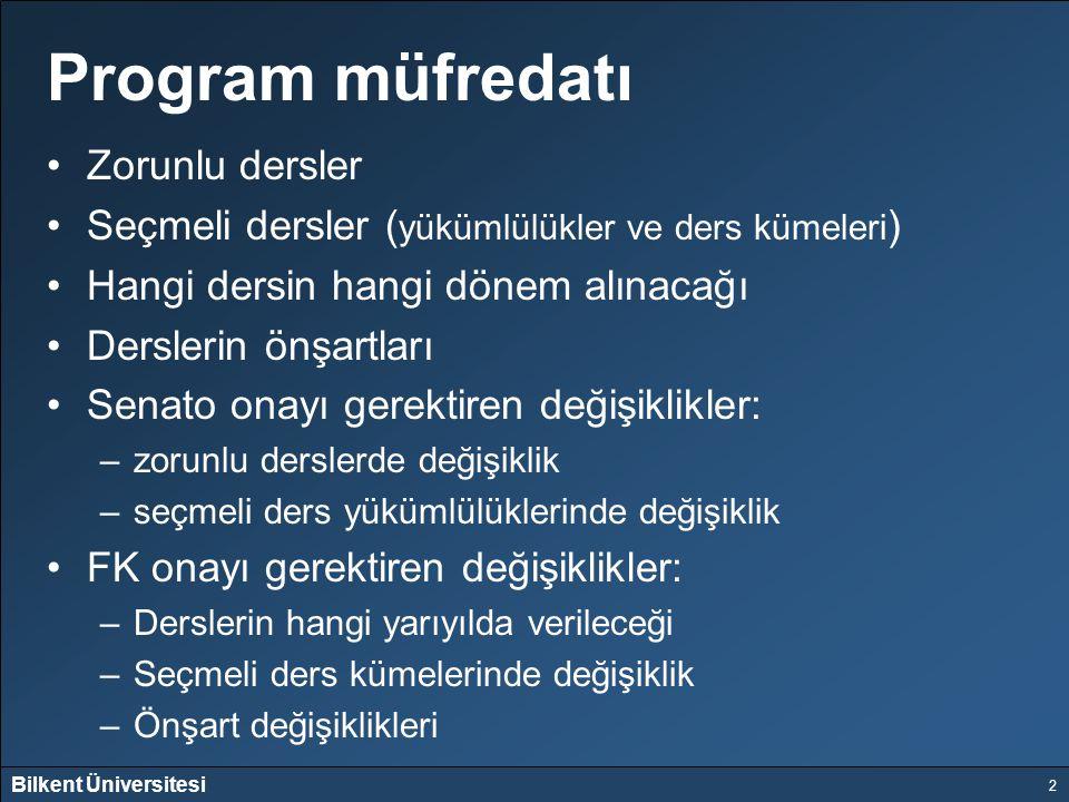 Bilkent Üniversitesi 2 Program müfredatı Zorunlu dersler Seçmeli dersler ( yükümlülükler ve ders kümeleri ) Hangi dersin hangi dönem alınacağı Dersler