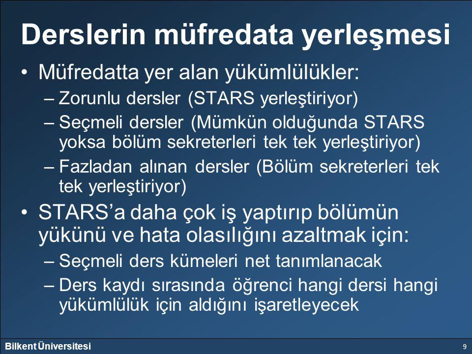 Bilkent Üniversitesi 9 Derslerin müfredata yerleşmesi Müfredatta yer alan yükümlülükler: –Zorunlu dersler (STARS yerleştiriyor) –Seçmeli dersler (Mümk