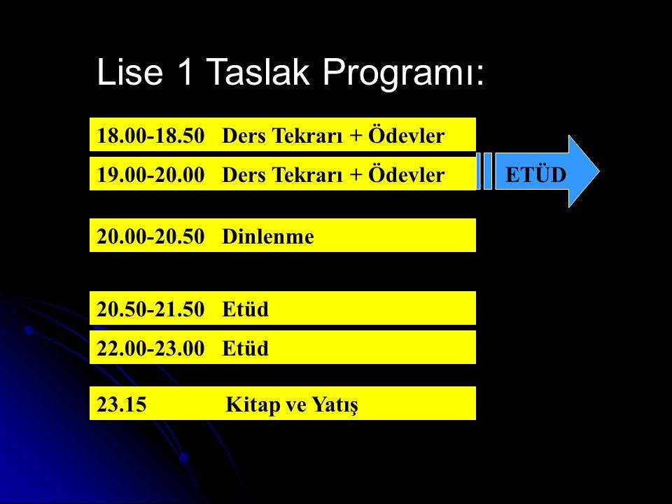 Orta 3 Taslak Programı: 18.00-18.50 Ders Tekrarı + Ödevler 19.00-20.00 Ders Tekrarı + Ödevler 20.00-20.40 Dinlenme 20.40-21.30 Etüd 21.40-22.30 Etüd 23.15 Kitap ve Yatış