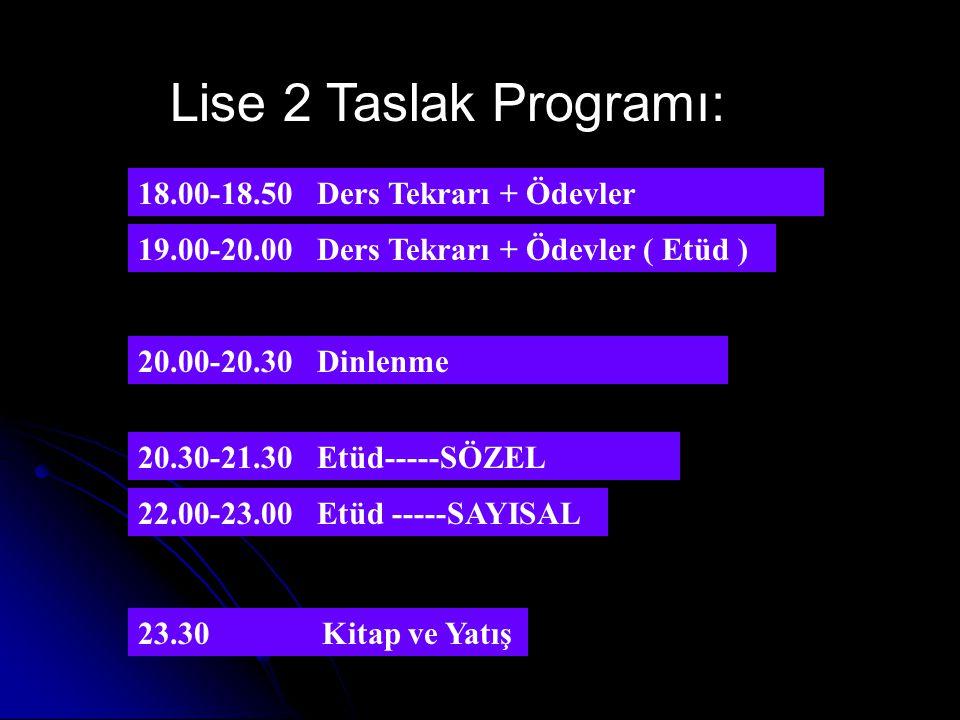 Lise 1 Taslak Programı: 20.00-20.50 Dinlenme 20.50-21.50 Etüd 22.00-23.00 Etüd 23.15 Kitap ve Yatış 18.00-18.50 Ders Tekrarı + Ödevler 19.00-20.00 Ders Tekrarı + ÖdevlerETÜD