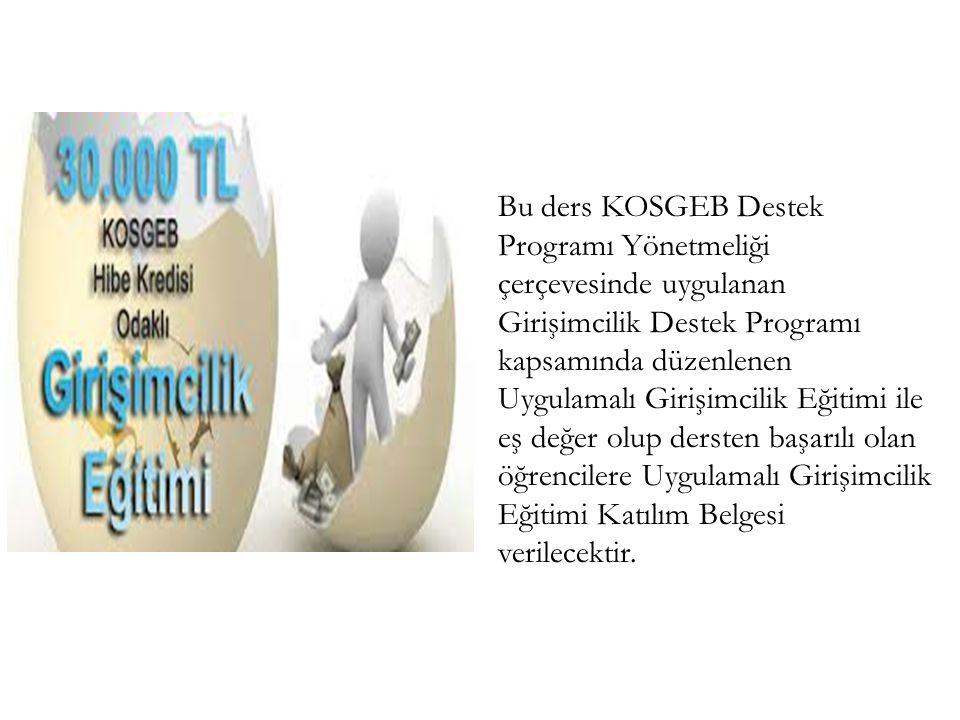 Bu ders KOSGEB Destek Programı Yönetmeliği çerçevesinde uygulanan Girişimcilik Destek Programı kapsamında düzenlenen Uygulamalı Girişimcilik Eğitimi i