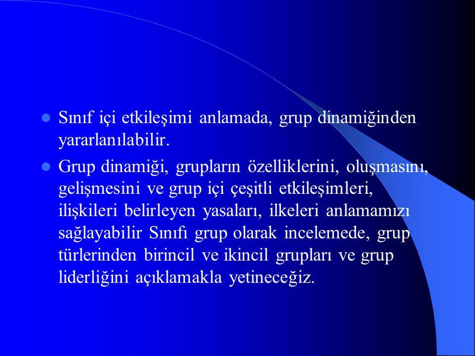 Sınıf içi etkileşimi anlamada, grup dinamiğinden yararlanılabilir. Grup dinamiği, grupların özelliklerini, oluşmasını, gelişmesini ve grup içi çeşitli