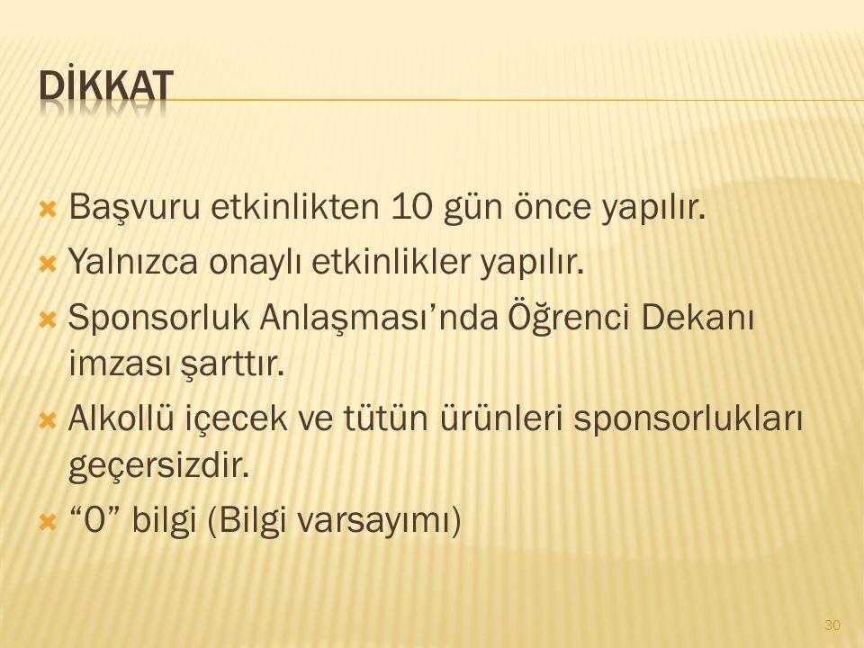  KTForm / Dilekçe  ÖKK Mavi yazı  Mekan rezervasyonu  Bütçe onayı  Ulaşım  Konaklama  Duyuru  Yemek... 29