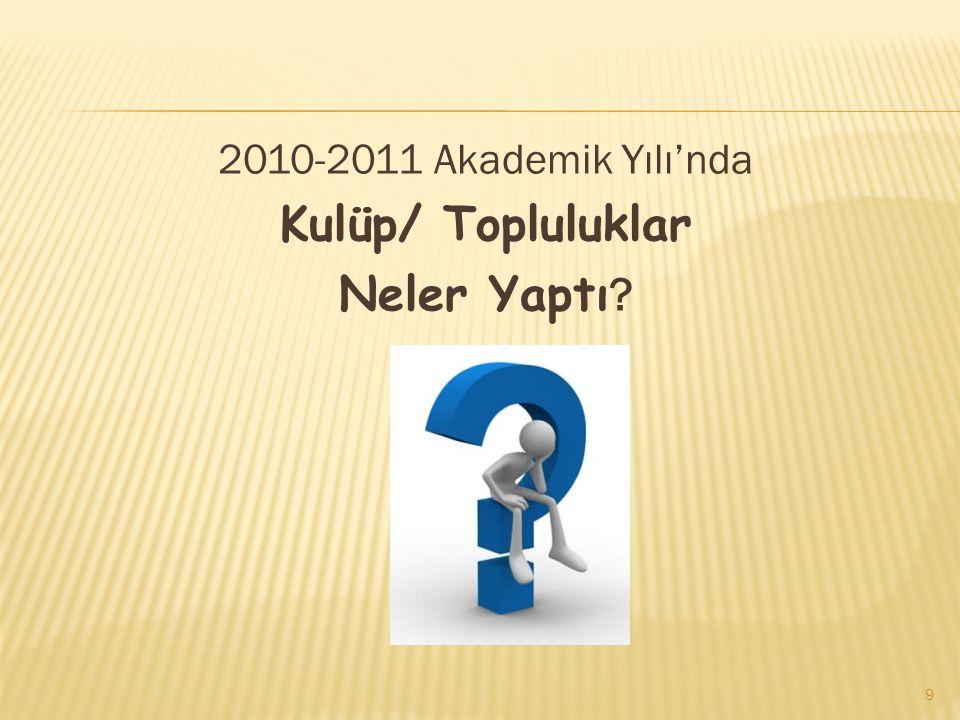 2010-2011 Akademik Yılı'nda Kulüp/ Topluluklar Neler Yaptı ? 9