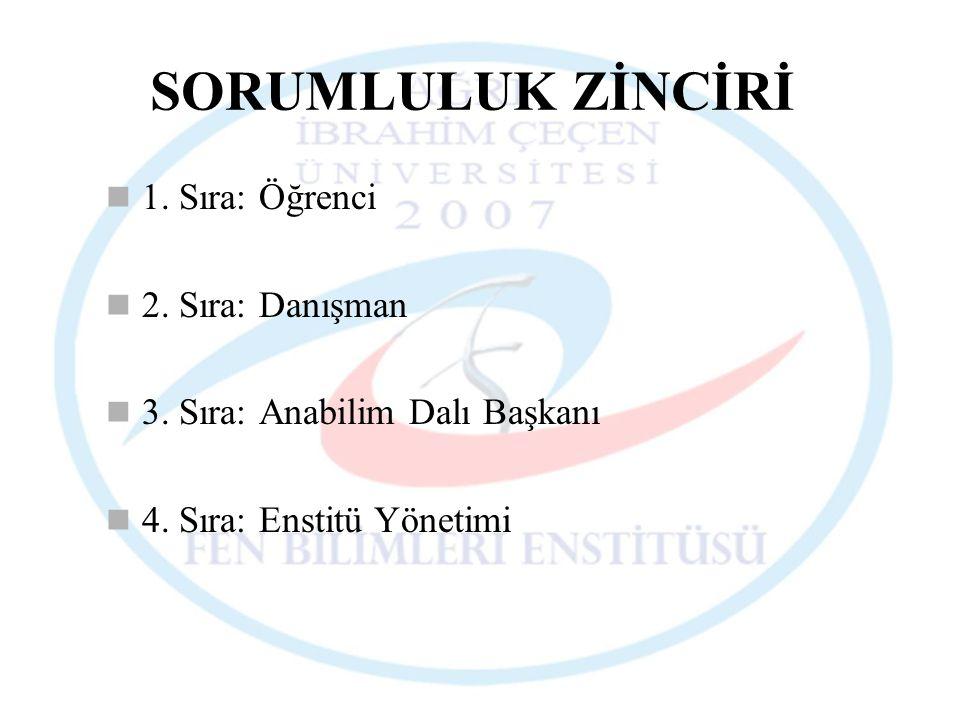 SORUMLULUK ZİNCİRİ 1. Sıra: Öğrenci 2. Sıra: Danışman 3. Sıra: Anabilim Dalı Başkanı 4. Sıra: Enstitü Yönetimi