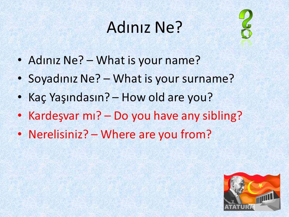 Adınız Ne. Adınız Ne. – What is your name. Soyadınız Ne.