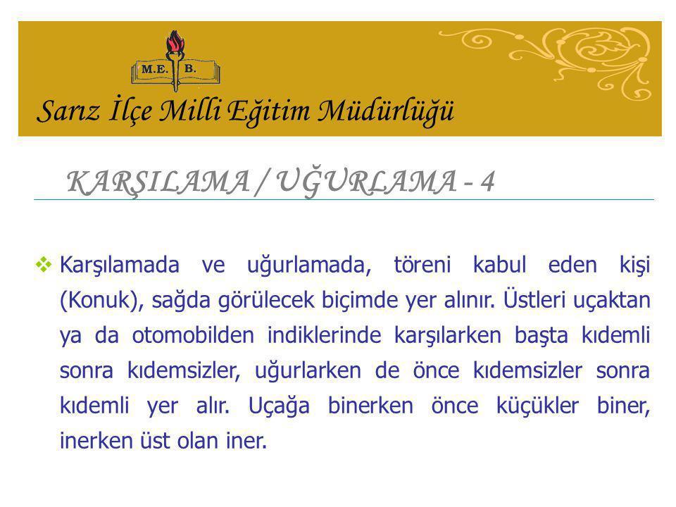 KARŞILAMA / UĞURLAMA - 4  Karşılamada ve uğurlamada, töreni kabul eden kişi (Konuk), sağda görülecek biçimde yer alınır.
