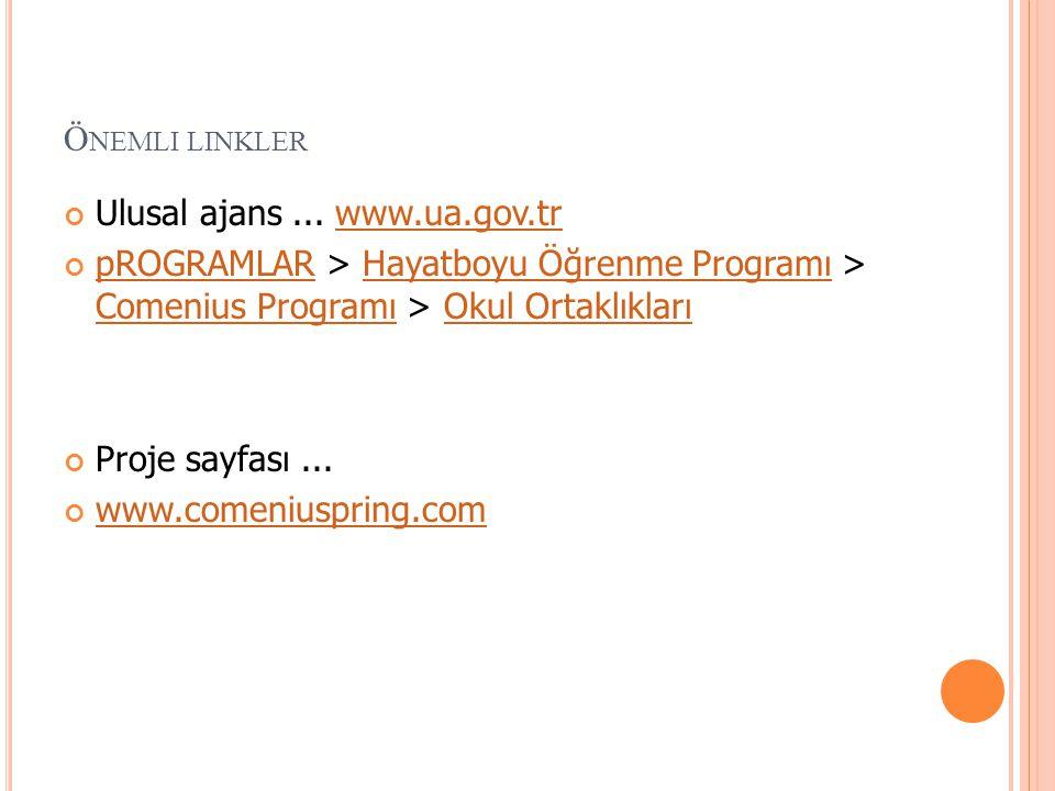 Ö NEMLI LINKLER Ulusal ajans... www.ua.gov.trwww.ua.gov.tr pROGRAMLARpROGRAMLAR > Hayatboyu Öğrenme Programı > Comenius Programı > Okul OrtaklıklarıHa