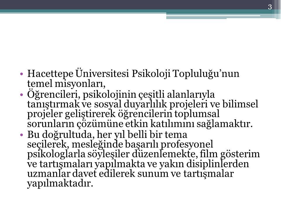 Hacettepe Üniversitesi Psikoloji Topluluğu'nun temel misyonları, Öğrencileri, psikolojinin çeşitli alanlarıyla tanıştırmak ve sosyal duyarlılık projel