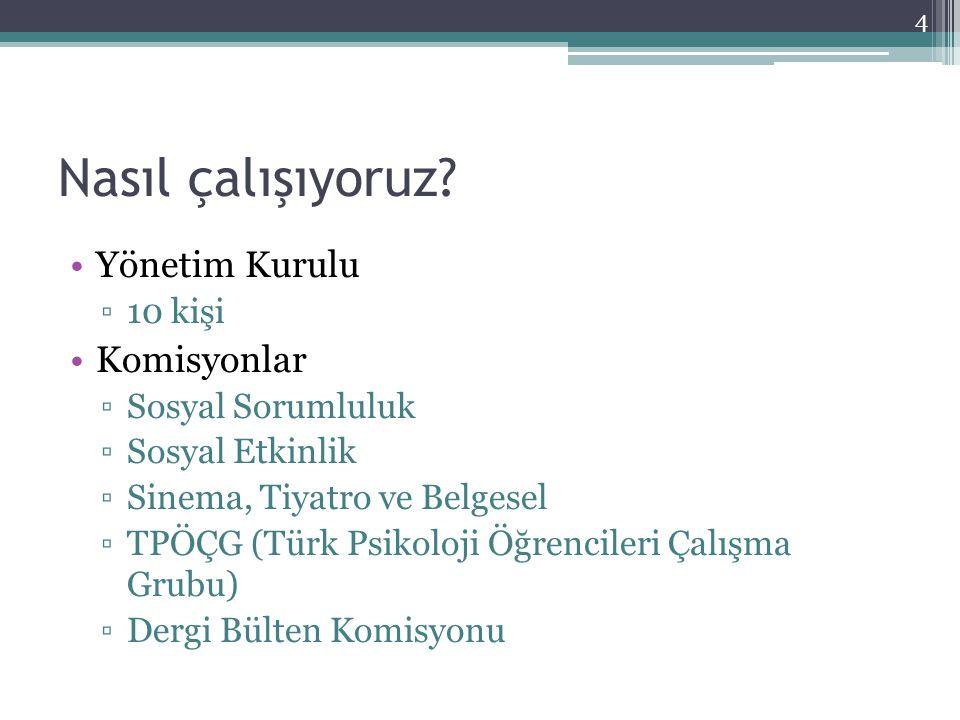 Nasıl çalışıyoruz? Yönetim Kurulu ▫10 kişi Komisyonlar ▫Sosyal Sorumluluk ▫Sosyal Etkinlik ▫Sinema, Tiyatro ve Belgesel ▫TPÖÇG (Türk Psikoloji Öğrenci