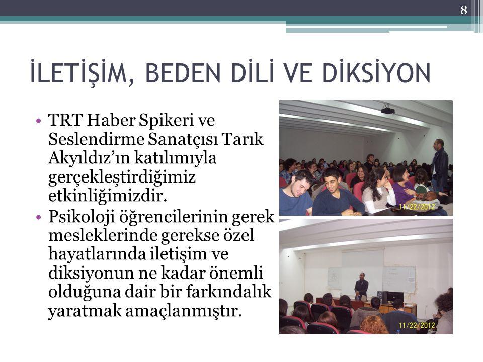 İLETİŞİM, BEDEN DİLİ VE DİKSİYON TRT Haber Spikeri ve Seslendirme Sanatçısı Tarık Akyıldız'ın katılımıyla gerçekleştirdiğimiz etkinliğimizdir. Psikolo