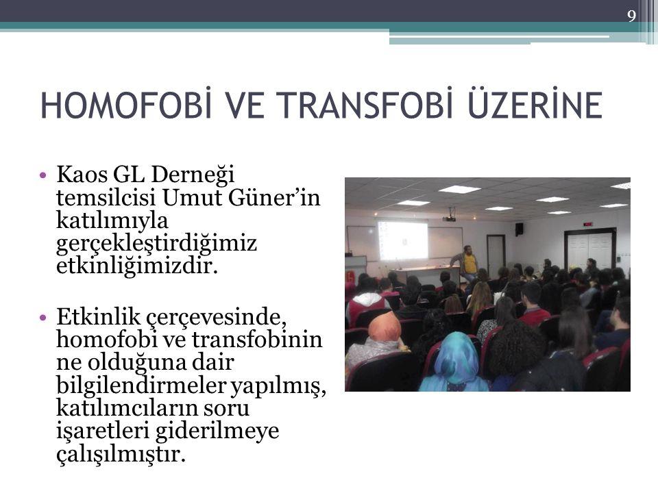HOMOFOBİ VE TRANSFOBİ ÜZERİNE Kaos GL Derneği temsilcisi Umut Güner'in katılımıyla gerçekleştirdiğimiz etkinliğimizdir.