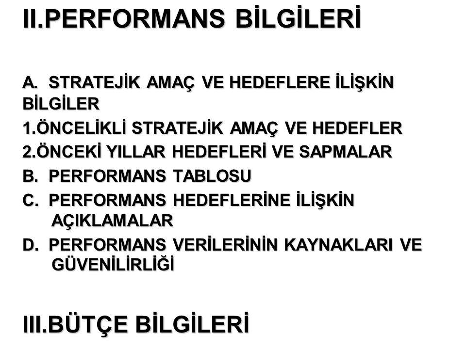 II.PERFORMANS BİLGİLERİ A.