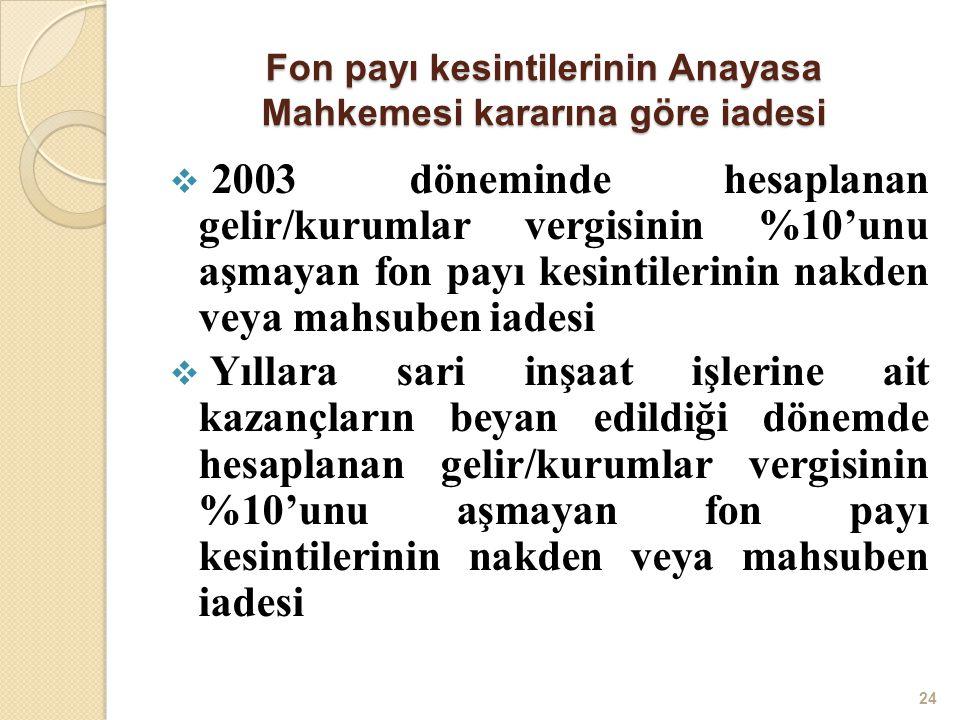 Fon payı kesintilerinin Anayasa Mahkemesi kararına göre iadesi  2003 döneminde hesaplanan gelir/kurumlar vergisinin %10'unu aşmayan fon payı kesintil