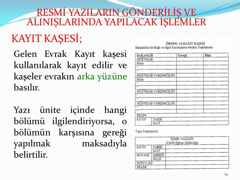 74 KAYIT KAŞESİ; Gelen Evrak Kayıt kaşesi kullanılarak kayıt edilir ve kaşeler evrakın arka yüzüne basılır.