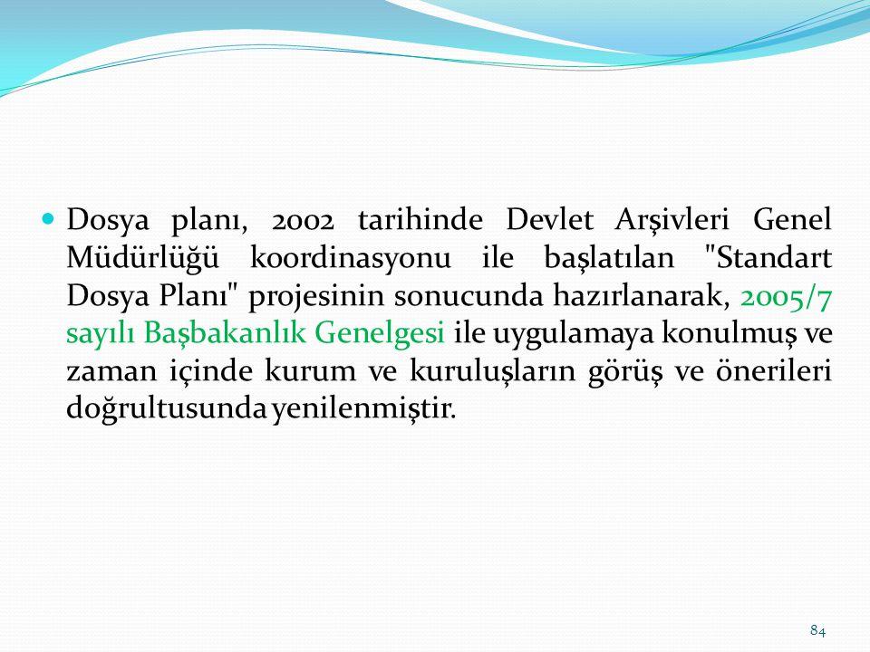 Dosya planı, 2002 tarihinde Devlet Arşivleri Genel Müdürlüğü koordinasyonu ile başlatılan Standart Dosya Planı projesinin sonucunda hazırlanarak, 2005/7 sayılı Başbakanlık Genelgesi ile uygulamaya konulmuş ve zaman içinde kurum ve kuruluşların görüş ve önerileri doğrultusunda yenilenmiştir.