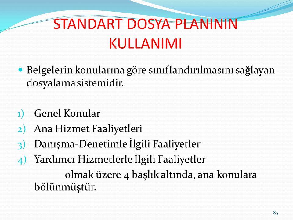 STANDART DOSYA PLANININ KULLANIMI 85 Belgelerin konularına göre sınıflandırılmasını sağlayan dosyalama sistemidir.