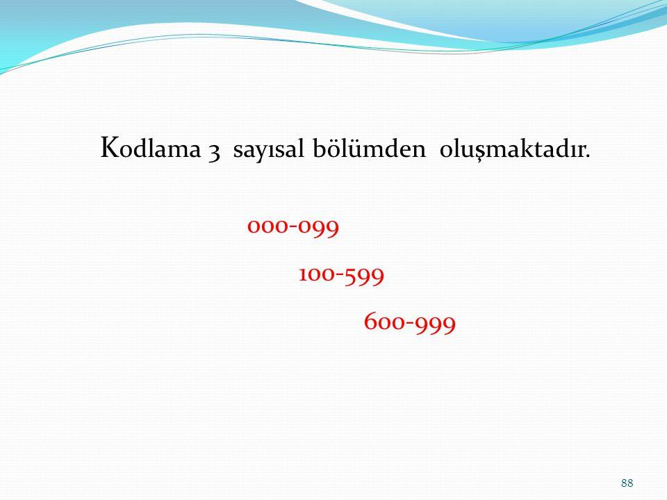 K odlama 3 sayısal bölümden oluşmaktadır. 000-099 100-599 600-999 88