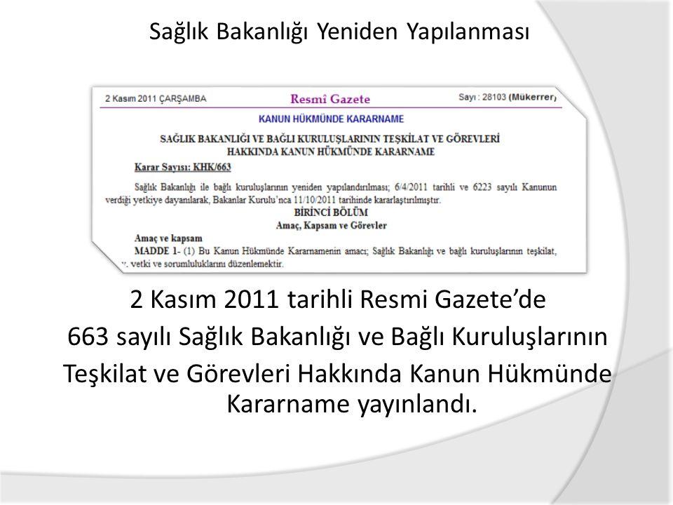 2 Kasım 2011 tarihli Resmi Gazete'de 663 sayılı Sağlık Bakanlığı ve Bağlı Kuruluşlarının Teşkilat ve Görevleri Hakkında Kanun Hükmünde Kararname yayınlandı.