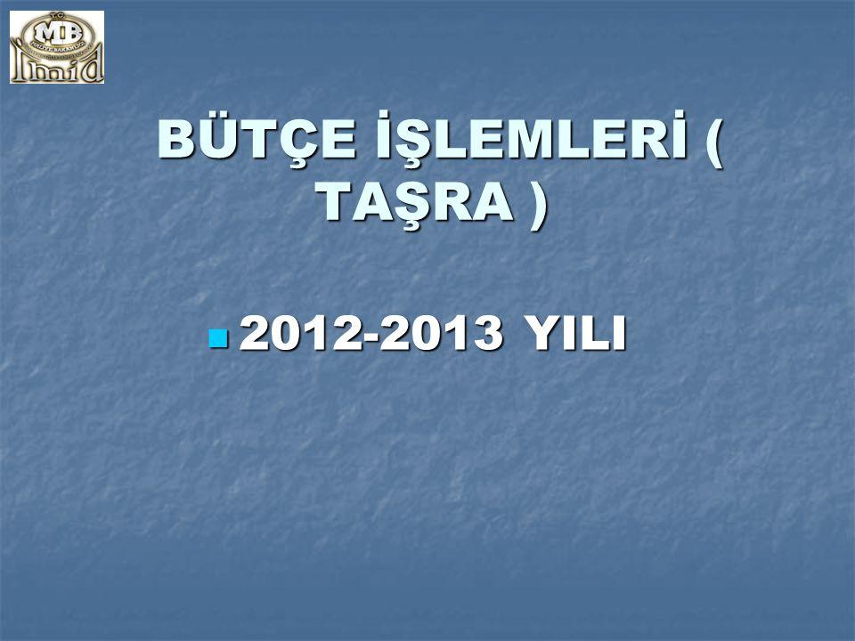 BÜTÇE İŞLEMLERİ ( TAŞRA ) BÜTÇE İŞLEMLERİ ( TAŞRA ) 2012-2013 YILI 2012-2013 YILI