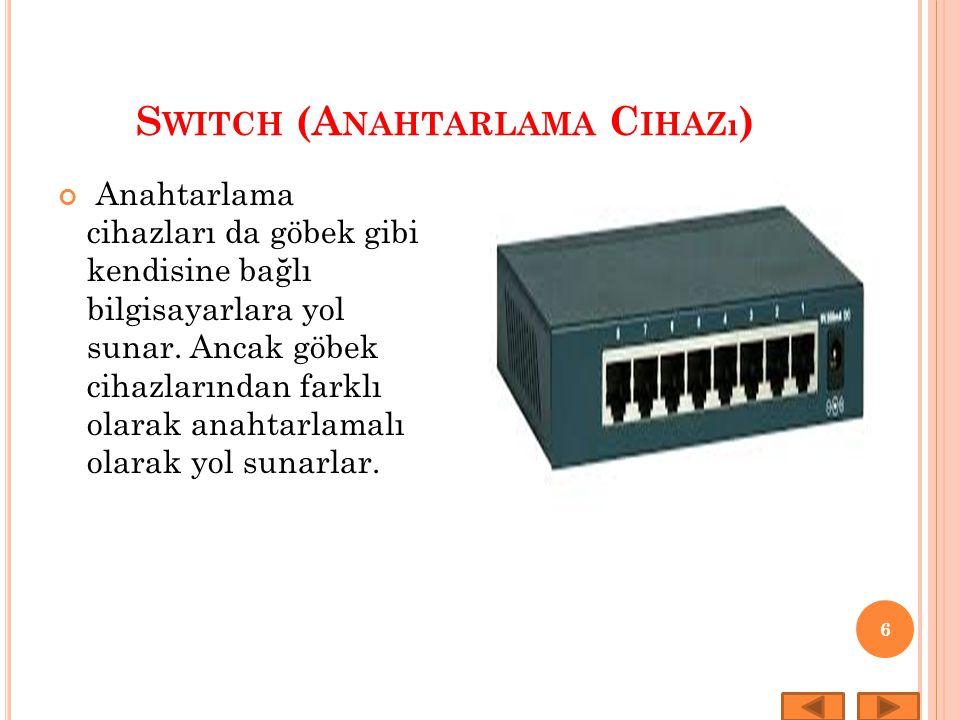 S WITCH (A NAHTARLAMA C IHAZı ) 6 Anahtarlama cihazları da göbek gibi kendisine bağlı bilgisayarlara yol sunar. Ancak göbek cihazlarından farklı olara