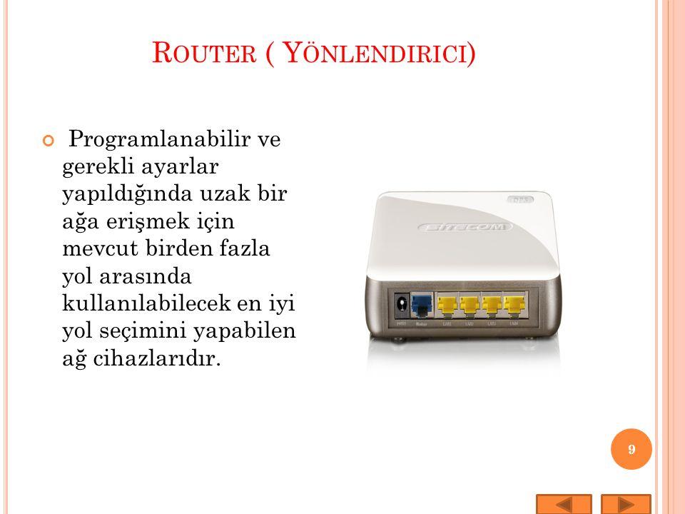 R OUTER ( Y ÖNLENDIRICI ) 9 Programlanabilir ve gerekli ayarlar yapıldığında uzak bir ağa erişmek için mevcut birden fazla yol arasında kullanılabilec