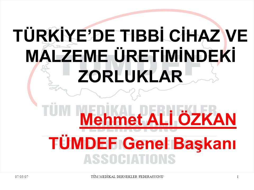 07/05/07TÜM MEDİKAL DERNEKLER FEDERASYONU12 TIBBİ CİHAZ VE MALZEMEDE DIŞA BAĞIMLILIK Türkiye Tıbbi Cihaz ve Malzeme tüketiminde % 80-85 oranında dışa bağımlıdır.