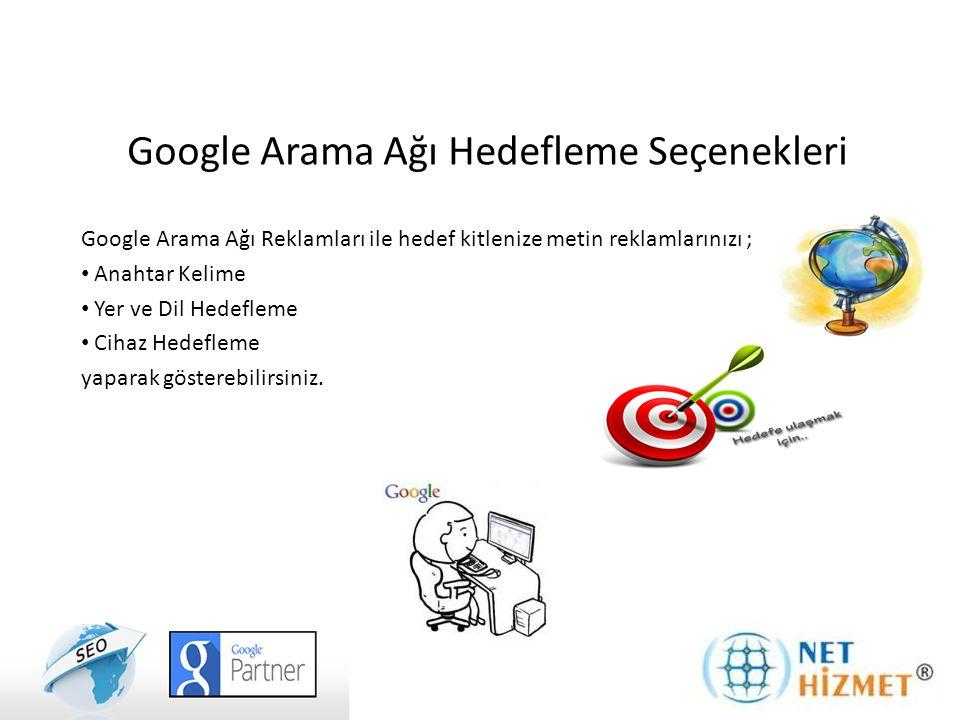 Google Arama Ağı Reklamları ile hedef kitlenize metin reklamlarınızı ; Anahtar Kelime Yer ve Dil Hedefleme Cihaz Hedefleme yaparak gösterebilirsiniz.